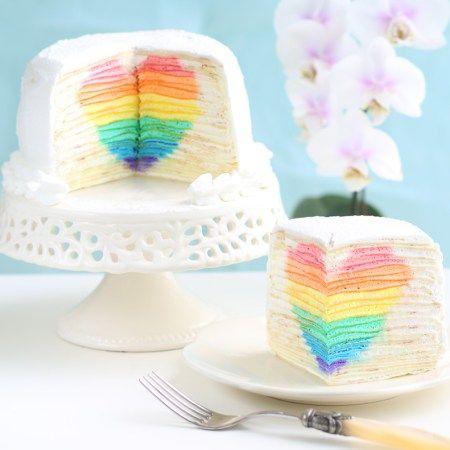 新晋网红 彩虹心形夹心千层蛋糕